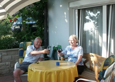 Tagesausklang bei einem guten Glas Wein